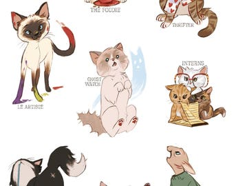 Hobby Cats Vinyl Sticker Sheet