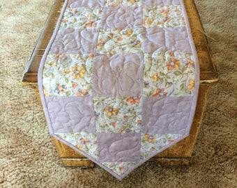 Homemade tablerunner quilted tablerunner spring runner purple tablerunner floral tabletopper