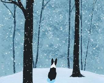 Boston Terrier Dog Folk Art PRINT of Todd Young painting FALLING SNOW