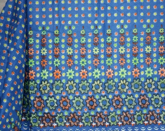 "2 yards x 44"" Gorgeous African or Asian  Border Print Cotton Fabric Bright Blue, Lime Green and Orange"