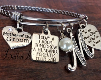 Mother of the GROOM gift, Today a Groom Tomorrow a Husband, Mother in law gift, charm Bangle bracelet, wedding keepsake, Mother of the Bride