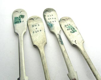 Clueless Gardeners Plant Labels, Rustic Upcycled Forks, Gift For Gardener, Humorous Plant Markers, Reclaimed Vintage Cutlery