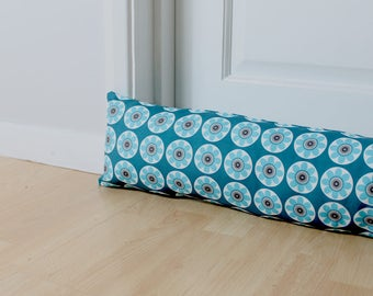 Draught Excluder Daisy Patterned Teal Blue Floral Print Scandi Fabric Home Decor Retro Style UK