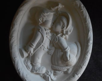 ready to paint ceramic wall hanging kissing under the mistletoe Christmas scene