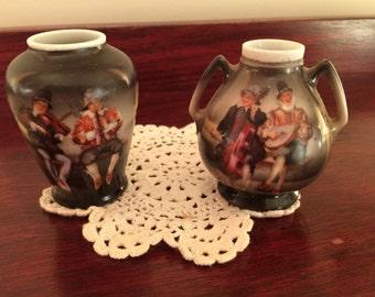 Pair Royal Beyreuth Miniature Vases, Peasant Musicians Design, 1910's Antique Bavarian Ceramics