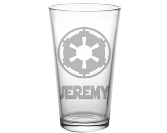 Star Wars Imperial Symbol Pint Glass - Personalized Imperial Star Wars Glass - Etched Imperial Bar Glass - Geeky Goodz