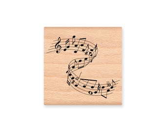 MUSICAL WAVE-Music Notes-wood mounted rubber stamp- (31-21)