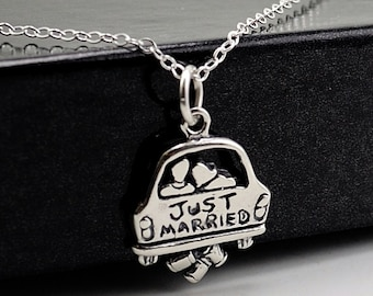 Just Married Sterling Silver Necklace . Charm Necklace . Honeymoon Wedding Bride Gift For Her . Fun