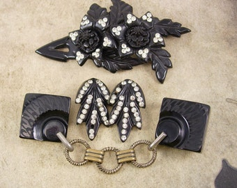 Vintage Mourning Black HUGE brooch Earrings sash belt cape clasp Gothic medieval