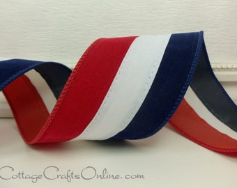 "Wired Ribbon, 2.5"" wide, Red, White and Blue Velvet - THREE YARDS -  ""Tri-Stripe"",  Patriotic July 4th Wire Edge Ribbon"