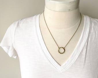 Short choker necklace // short circle necklace // gold circle charm // circle choker necklace // open circle necklace // gold short necklace