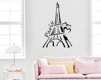 Eiffel Tower Wall Decal Paris Silhouette Vinyl Stickers Decals Art Home Decor Mural Vinyl Lettering Wall Decal France Bedroom Dorm x253