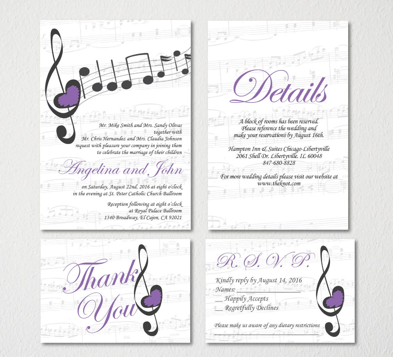 Music Wedding Invitation Printable Template/Vintage/E-card