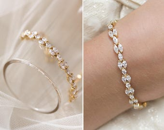 Gold Bridal Bracelet, Tennis Bracelet, Wedding Accessories, Stackable Jewelry, CZ Crystal Bracelet, Swarovski Crystal Jewelry, B249-G
