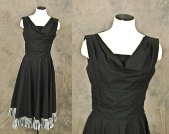 vintage 50s Renee Marciel Dress - Black Gingham Sun Dress - 1950s Designer Sundress Sz S
