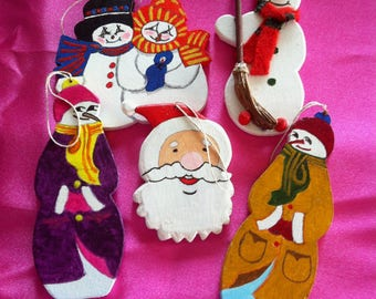 Set of 5 Figurines wooden painted tree