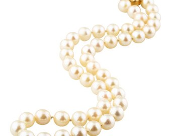 Japanese Cultured Pearl Necklace With 14K Yellow Gold Clasp