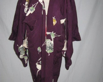 CA 1930's Vintage Japanese Embossed Pure SILK Short KIMONO Aubergine Purple Hand Painted