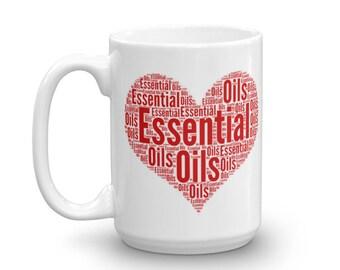 Essential Oil Heart Word Art Mug (Red)