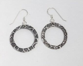 Silver Metal Clay - Organic Patterned Earrings