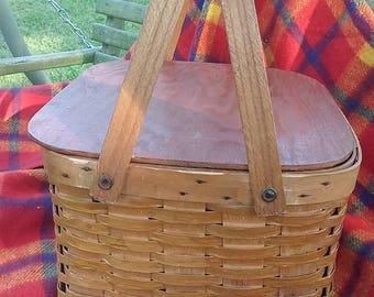 Vintage Woven Wood Splint Pie Basket, Vintage Pie Basket, Bent Wood Swing Handles, Wood Lid Pie Basket, Vintage Picnic Basket
