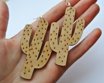 Wooden Cactus Earrings, Plant Statement Jewellery, Natural Jewelry, Boho