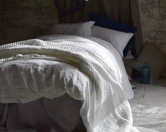 Antique white stonewashed linen quilt/duvet cover. Pure linen bedding. All sizes