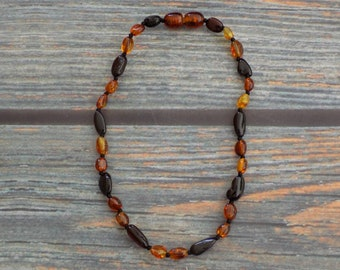 10 Inch Multicolored Bean Baltic Amber Necklace Knotted on Silk and Finished with a Plastic Screw Clasp, Teething Pain Relief