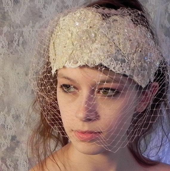 1920s BEADED APPLIQUE Wedding Headpiece, Bridal Blush Headband, Flapper Style Headband