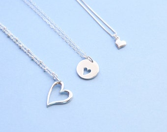 Mother Daughter Grandmother Heart Necklace Set, 3 Generation Love Necklace Set, Sterling Silver, Gold, Family Tree Jewelry, New Mom