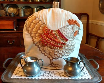 FABULOUS Rooster Tea Cozy With Embroidered and Embellished Rooster