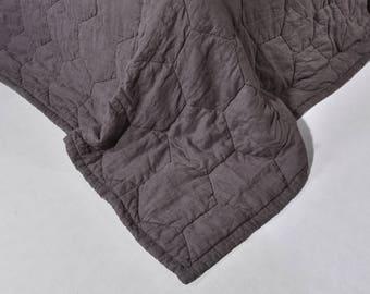 Linen winter quilt Dark Gray Quilted Linen StoneWashed Modern Quilt  Organic Blanket Eco Bedding Neavier Linen Fabric King Size Blanket