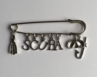 SCUBA Diver or Snorkeling Kilt Safety Pin - Charms:  Flipper / Fin, Letters S C U B A, Diving Mask or Snorkel Gear - FREE U.S. Shipping!
