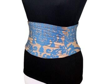 Blue and Gold Corset Belt Waist Cincher / Reversible Belt / Wedding Sash / Bridesmaid Corset / Metallic Belt / Steel Boning / Underbust
