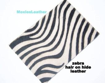 Hair on leather pieces- hair on hide print leather - leopard and zebraprint leather - leather hide with hair on -