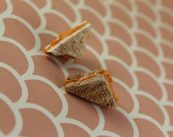 Miniature Cheesy Grilled Cheese Slice Stud Earrings/ Polymer Clay Fake Food/ Warm Comfort Food Flair