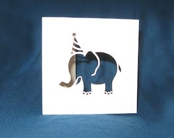 Birthday Elephant Card, Happy Birthday, Hand Cut Card