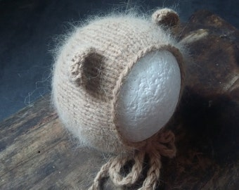 Newborn bear bonnet, photo prop