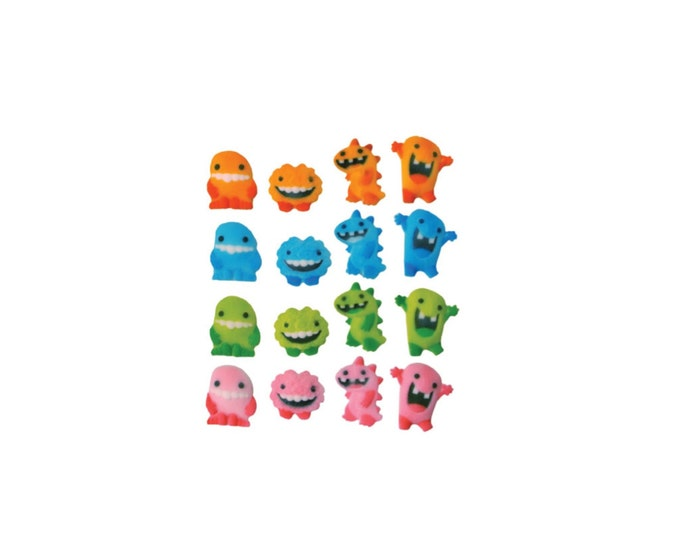 16 Monster Molded Sugar Cake / Cupcake Topper Decorations