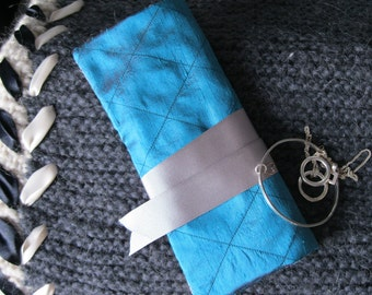Quilted Silk Jewellery Roll - teal dupion silk, floral, gift for her, Christmas, traveller