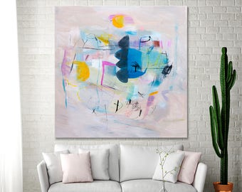 ABSTRACT PAINTING on Canvas Abstract Art Acrylic Painting Apricot Pink Canvas Painting Above Couch Art Above Fireplace Duealberi