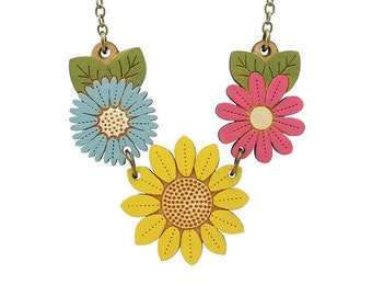Sunflower wild flower necklace - hand painted laser cut flower necklace