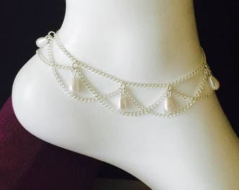 Silver chain anklet Etsy