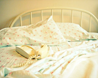 shabby chic bedroom photography, vintage Trimline telephone, phone, retro decor, teen bedroom, neutrals, white on white, bedroom art, decor