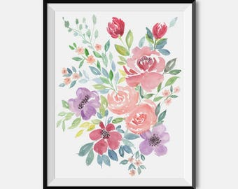 Watercolor Floral Print, Watercolor Flowers, Botanical Art, Floral Bouquet, Floral Nursery, Minimalist Flower Wall Art, Floral Wall Decor