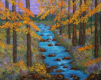 Fine Art Oil Painting, Colorado River, Rustic Wall Art, Impressionism, 18x24 stretched canvas