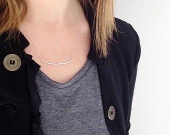 Curved Bar Necklace | Sterling Silver Bar | Hammered Bar Necklace |