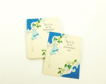 Engagement Gift Thank You Notes Lot of 10 Unused Mid Century Greeting Cards Blue Wedding Bells