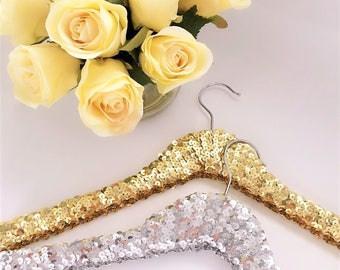 Bridal Party Gift Wedding Gift Sequin Hangers,  Wedding hanger, Bridal hanger,Bridesmaid hanger Gold, Silver, Black & Blue