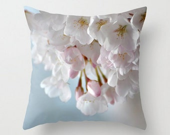 Throw Pillow Cover, Pink Spring Blossoms Pillow, Photography, Spring Flowers, Soft, Gentle, Floral, White, Dreamy,Translucent, Garden Art